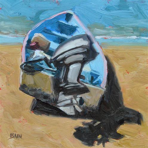 """Motor on Beach"" original fine art by Peter Bain"