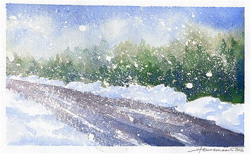"""Snowy Blowy Day"" original fine art by Eileen Hennemann"
