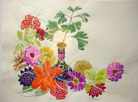 """Green Vase"" original fine art by Priscilla Bohlen"