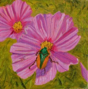 """Green Bug"" original fine art by Robert Frankis"