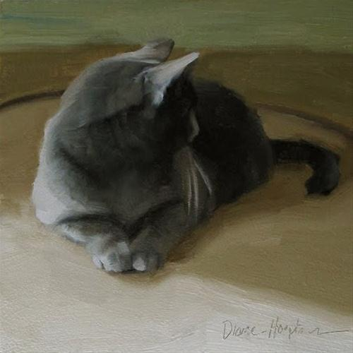 """Distracted oil painting gray cat"" original fine art by Diane Hoeptner"