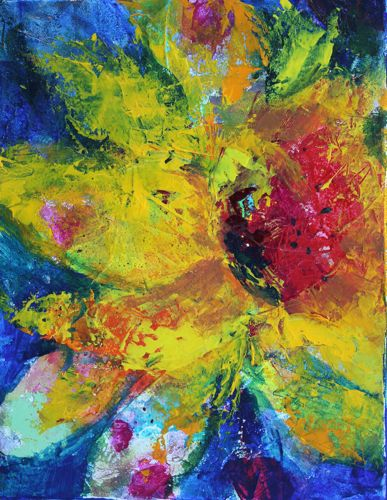 """Psychedelic Sunflower 11x14 Acrylic Contemporary Floral"" original fine art by Amy Whitehouse"