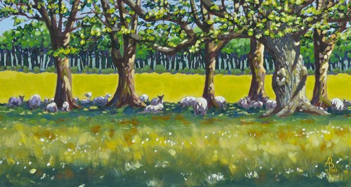 """Shady sheep"" original fine art by Alix Baker"