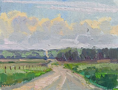 """River Road__Great Plains, Nebraska, farmland"" original fine art by V.... Vaughan"