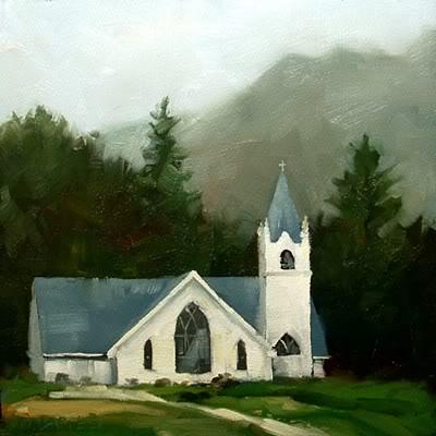 """""""Sunlit Church"""" original fine art by Michael Naples"""