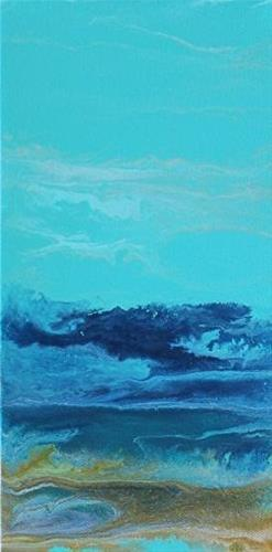 """Contemporary Abstract Seascape Painting,Coastal Art Royal Wave- Mini# 1 by International Contempor"" original fine art by Kimberly Conrad"