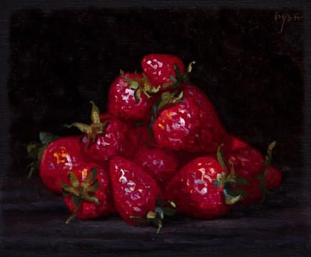 """""""Strawberries from Testaccio Market, Rome (Italy 2017 painting #1)"""" original fine art by Abbey Ryan"""