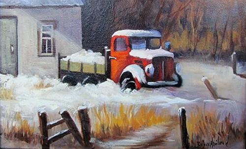 """Red Truck in the Snow"" original fine art by Barbara Haviland"