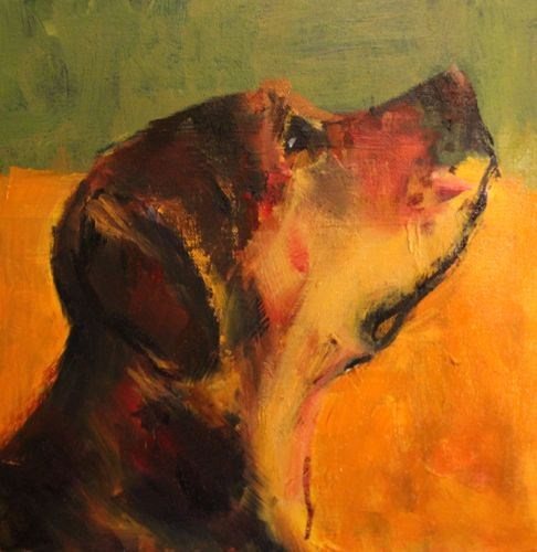 """Treat Time, Contemporary Dog Portrait Paintings by Arizona Artist Amy Whitehouse"" original fine art by Amy Whitehouse"