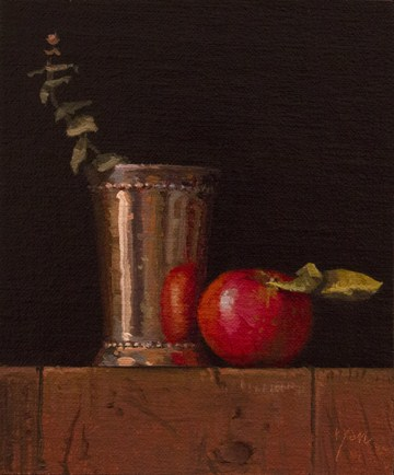 """Still Life with Apple, Silver Cup, and Eucalyptus"" original fine art by Abbey Ryan"