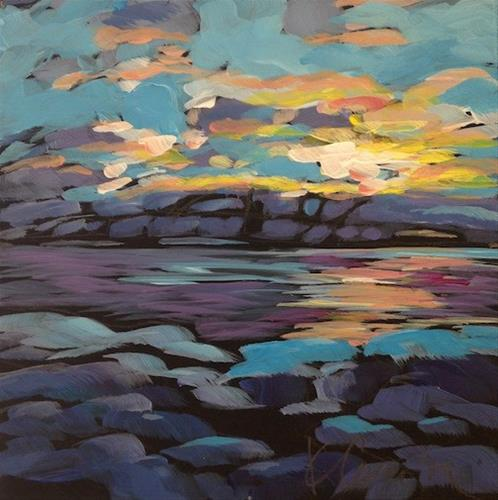 """Cold Rocks At Sunset"" original fine art by Kat Corrigan"