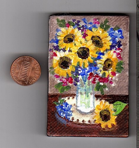 """Sunflower Bouquet Miniature Painting"" original fine art by Patricia Ann Rizzo"