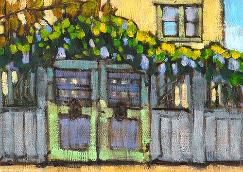 """Wisteria on the Fence, San Diego"" original fine art by Kevin Inman"