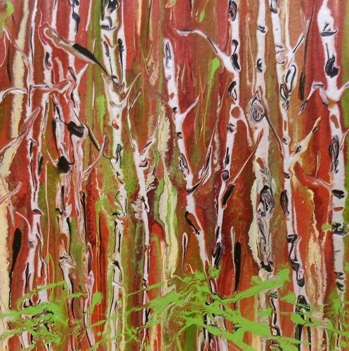 """Original Contemporary Aspen Tree Painting Enchanted Forest II by Colorado Contemporary Landscape A"" original fine art by Kimberly Conrad"