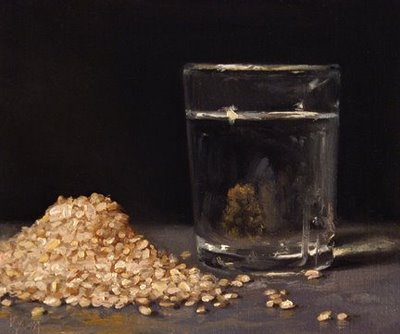 """Brown Rice with Glass of Water - available"" original fine art by Abbey Ryan"