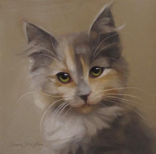 """Reluctant Rebel kitten painting and Cat Art Show 2"" original fine art by Diane Hoeptner"