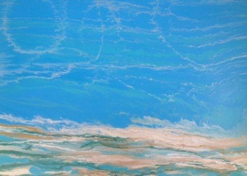 """Contemporary Seascape Abstract Beach Art Coastal Art Painting Dreaming II by International Contem"" original fine art by Kimberly Conrad"