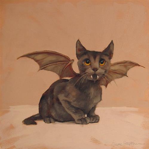 """Holiday Cats! Halloween Bat Cat"" original fine art by Diane Hoeptner"
