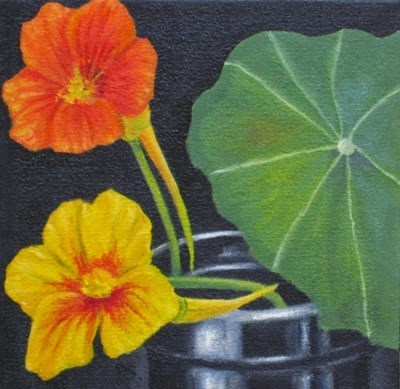 """Nasturtium on black II"" original fine art by Pera Schillings"