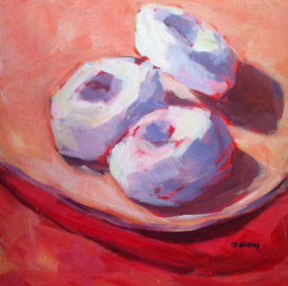 """white powdered donuts"" original fine art by Shelley Garries"