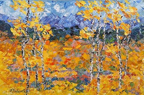 """Original Impressionism Colorado Landscape Aspen Tree Painting Heart of the Mountain by Colorado Im"" original fine art by Judith Babcock"