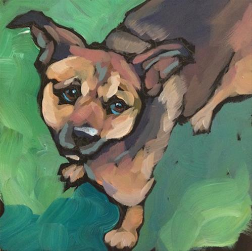 """Gus On Green"" original fine art by Kat Corrigan"