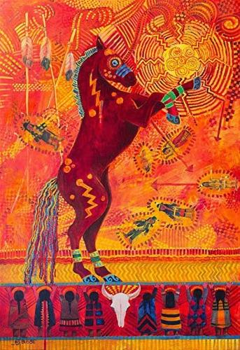 """Contemporary Western Art ,Equine Painting SITTING BULL'S DANCING HORSE by Colorado Landscape Artis"" original fine art by Nancee Busse"