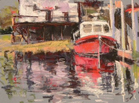 """""""Boat at Dock"""" original fine art by Mary McInnis"""