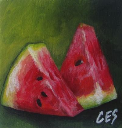 """""""Watermelon Slices"""" original fine art by ~ces~ Christine E. S. Code"""