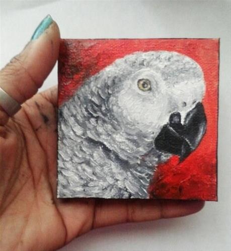 """African Grey Parrot Profile Portrait"" original fine art by Camille Morgan"