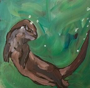 """Otter Ballet"" original fine art by Kat Corrigan"