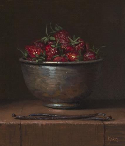 """Sneak Preview!  Still Life with Two Vanilla Beans and Strawberries in a Copper Bowl (Gallery Paintin"" original fine art by Abbey Ryan"