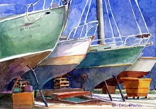 """Watercolor: Dry Dock in Oxnard"" original fine art by Belinda Del Pesco"