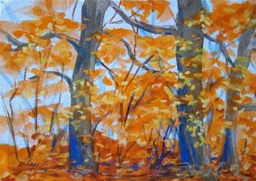"""""""Fall Fog"""" original fine art by Becky Chappell"""