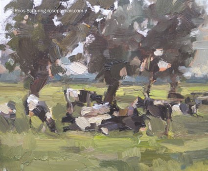 """LSU4 ""Cows and Trees II"" (available)"" original fine art by Roos Schuring"