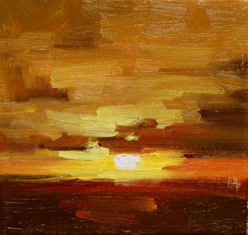 """The sunset this evening"" original fine art by Fongwei Liu"
