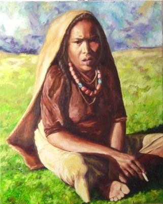 """Nepalese Sherpa"" original fine art by Maria Levandowski"