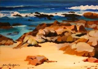 """Asilomar Rocks"" original fine art by JoAnne Perez Robinson"