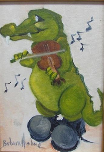 """Gator Fiddlin"" original fine art by Barbara Haviland"