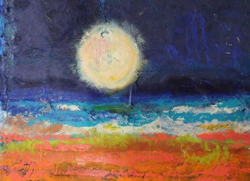 """Marvelous Night for a Moondance, Abstract Seascape Paintings by Arizona Artist Amy Whitehouse"" original fine art by Amy Whitehouse"