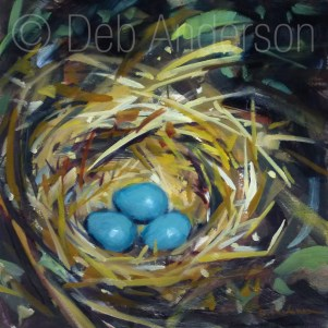 """Oil Painting: Robin's Nest"" original fine art by Deb Anderson"