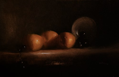 """Three Clementines with Grapes"" original fine art by Neil Carroll"