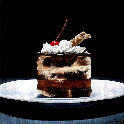 """Triple Chocolate Mousse Cake"" original fine art by Jelaine Faunce"