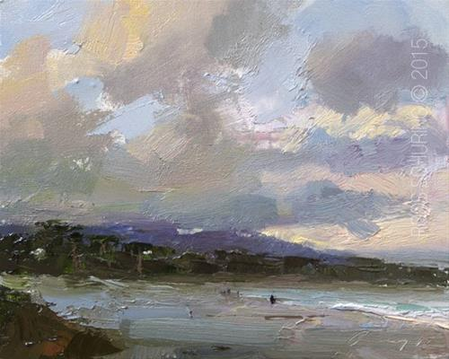 """Seascape During Sunrise Carmel Beach"" original fine art by Roos Schuring"