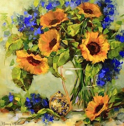 """Sunkissed Sunflowers by Texas Flower Artist Nancy Medina"" original fine art by Nancy Medina"