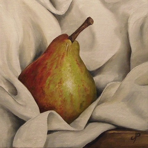 """Blush Pear on cloth"" original fine art by Jane Palmer"