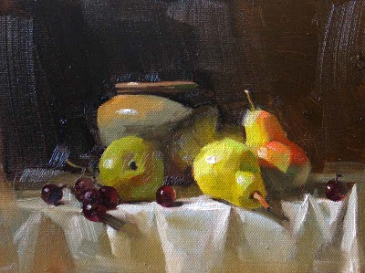 """Pears in Light --- Sold"" original fine art by Qiang Huang"