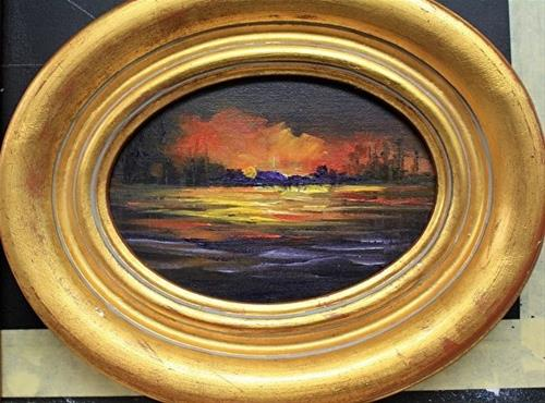 """Oval Sunset Over the Lake"" original fine art by Barbara Haviland"