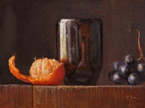 """Peeled Clementine and Grapes with Handmade Cup"" original fine art by Abbey Ryan"