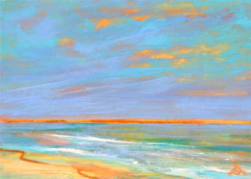 """3212 - SERENE BEACH - ACEO Series"" original fine art by Sea Dean"